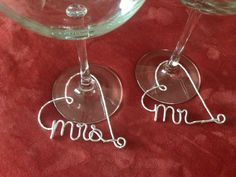 Mr and Mrs Wine Glass Charms, customized wine glass charms, Bridal Party, diamonds, wine glass tags, Wedding Shower Decorations. $14.00, via Etsy. So cute!!