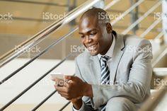 black businessman using smart phone royalty-free stock photo