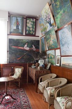 Paintings - some of his own - hang in a room at Claude Monet's home in Giverny, France.  I was so lucky to have toured his home and fabulous gardens 12 years ago!