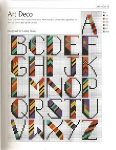 art deco alphabet cross stitch