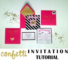 Confetti invitation tutorial by Pretty Lovely Living New Year's Eve, graduation, birthday, save the date, pink, black, gold, glitter, flying pig, kate spade
