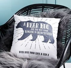 'A Bear Hug From' Personalised Locations Cushion. Make your friend smile with a thoughtful palentine's gift!