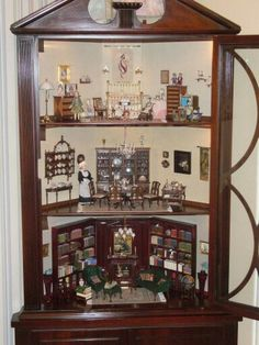 Corner hutch made into dollhouse