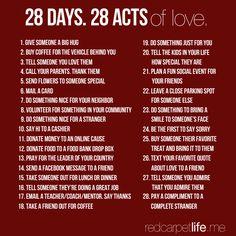 28 days. 28 acts of love   #RedCarpetLife   http://cindyk.me/1dZshKr
