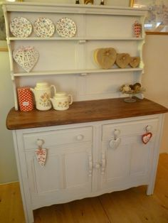 Ercol Welsh dresser given a Shabby Chic facelift,rubbed down, and painted in Farrow & Ball,distressed and waxed
