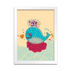 Quadro Love Animals Baleia para deixar o quartinho do seu bebê com muita cor e estilo! Veja mais opções de quadros de bichinhos em nosso site!