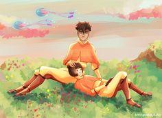 Taking a break - Kai and Jinora by thelegendofzuko on deviantART