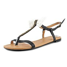 C Label Womens Leaf12A SandalCreamBlack7 M US >>> More info could be found at the image url.