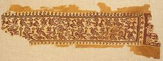 Textile Fragment Date: 8th–10th century Culture: Byzantine Medium: Linen, wool Dimensions: Overall: 7 1/2 x 21 15/16in. (19 x 55.7cm) Classification: Textiles-Woven