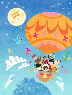 "Oopsy daisy, Fine Art for Kids presents Disney® ""It's a Small World - Balloon Explorers"" canvas wall art $119"