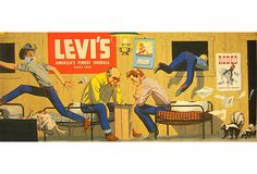 'Chess' Original Vintage Levi Strauss Poster - From the Levi's Strauss & co advertising archives Vintage Advertisements, Vintage Ads, Vintage Posters, Vintage Graphic, Vintage Photos, Vintage Artwork, Vintage Prints, Retro Poster, America's Finest