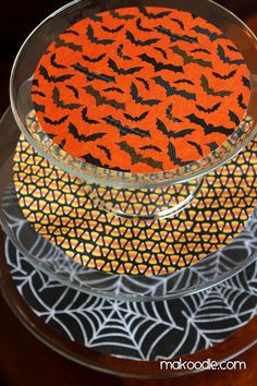 Halloween -- cake plates decorated with scrap book paper