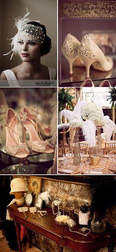 "Wedding on the theme of the ""Roaring Twenties"" / / Charleston - Bal de Promo Flapper Wedding, Roaring 20s Wedding, Flapper Party, 1920s Wedding, Art Deco Wedding, Roaring Twenties, Great Gatsby Theme, Great Gatsby Fashion, Great Gatsby Wedding"