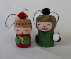 holiday decorations - portraits of my kids out of corks