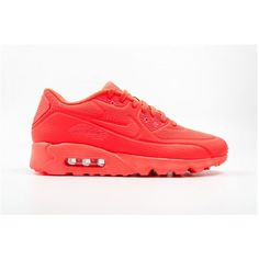 Nike Airmax90 ($69) ❤ liked on Polyvore featuring shoes, brightcrimson, nike shoes, nike footwear, rubber sole shoes and nike