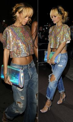 RIHANNA   HOLOGRAPHIC DETAILS + BOYFRIEND JEANS -- Click to get the look...