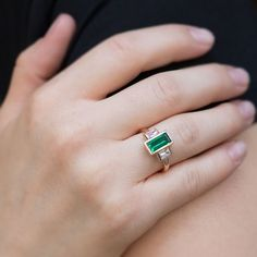baguette ring vintage, baguette ring Emerald, baguette ring solitaire, art deco, Emerald ring for wo - Products - Three Stone Engagement Rings, Rose Gold Engagement Ring, Long Engagement, Solitaire Engagement, Turquoise Rings, Turquoise Gemstone, Gold Rings, Gemstone Rings, Baguette Ring
