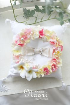 プルメリアと紫陽花のリングピロー Plumeria Hydrangea starfish shell pink yellow / ring pillow / wedding