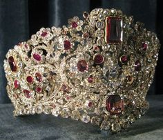 Bavarian: Queen Therese's Tiara, Bavaria - c1830. Rubies, spinels, diamonds, and gold.