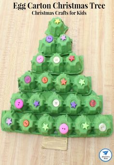 Christmas Crafts for Kids - Egg Carton Christmas Tree - Mom carton Crafts for kids Christmas Crafts for Kids - Egg Carton Christmas Tree Stick Christmas Tree, Christmas Crafts For Kids To Make, Christmas Activities For Kids, Christmas Tree Crafts, Preschool Christmas, Kids Christmas, Cardboard Christmas Tree, Egg Carton Crafts, Pinterest Crafts