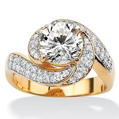 Tutone. 18k Gold-Plated DiamonUltra Cubic Zirconia Swirl Ring
