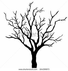 scary bare black tree silhouette | Tree silhouettes. Vector illustration. - stock vector