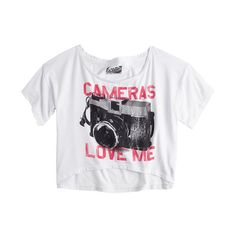 Cameras Love Me Tee ($9.99) ❤ liked on Polyvore featuring tops, t-shirts, shirts, crop tops, graphic tees, tee-shirt, graphic print t shirts, white graphic tee, white crop top and graphic shirts