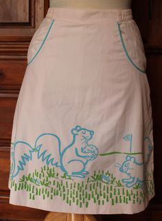 Vintage 70s The Vested Gentress Pro-Line Pink Squirrel Novelty Golf Skirt #TheVestedGentress
