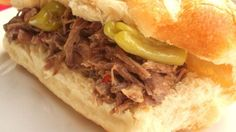 Original Homemade Italian Beef Recipe Main Dishes with chuck roast, italian salad dressing mix, water, pepperoncini, hamburger buns Italian Beef Recipes, Slow Cooker Italian Beef, Italian Beef Sandwiches, Italian Foods, Roast Recipes, Slow Cooker Recipes, Crockpot Recipes, Dinner Recipes, Cooking Recipes