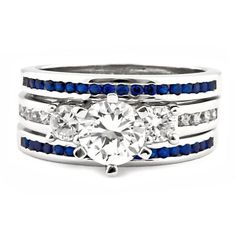 Lakoda Stunning IOF CZ and Sapphire 3 Pc Wedding Ring Set. Shopping For Wedding Bands Together Sterling Silver Wedding Rings, Silver Wedding Bands, Wedding Jewelry, Silver Ring, 925 Silver, Thin Blue Lines, Eternity Bands, Band Rings, Just In Case