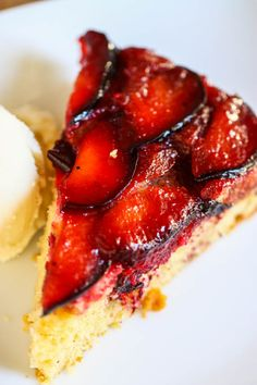 brown butter plum upside down cake- just made it with my pineapple upside down cake recipe and browned butter
