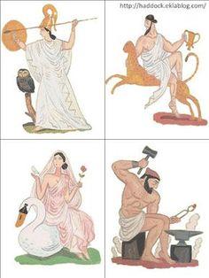 Σε ένα αρκετά ενδιαφέρον ιστολόγιο στα γαλλικά εδώ , βρήκα με εξαιρετική εικονογράφηση τους 12 θεούς του Ολύμπου και τους έφτιαξα κάρτες. ... Greek Mythology Gods, Greek Gods, Olympians, Ancient Greece, Egypt, Education, History, Fictional Characters, School Projects