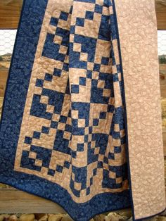crossroads~ Handmade Lap and/or Wall Quilt via Etsy....Love the blue with the other solid tea stained color