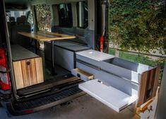 Transit Camper — Rig Racks Van Conversion Kitchen, Van Conversion Build, Transit Camper Conversion, Camper Van Kitchen, Suv Camper, Camper Life, Overland Truck, Bus Living, Stainless Sink
