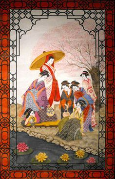 Seven Geishas Wall Hanging - Hand-Painted Needlepoint Tapestry Canvas from Trubey Designs