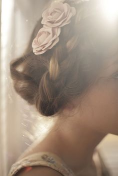 Floral pins and braids #wedding updo