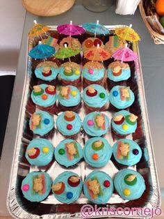 Cupcakes for a beach themed birthday party.  Teddy Grahams, gum balls, gummy life savers  rainbow belts candy.