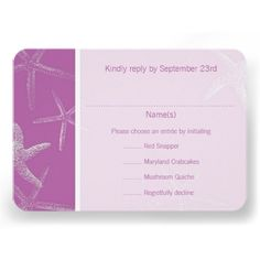 Radiant Orchid Starfish Wedding Menu Reply Card