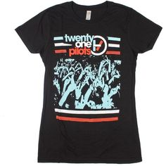 Twenty One Pilots Crowd Hands Girls T-Shirt ($23) ❤ liked on Polyvore featuring tops, shirts, band tees and t-shirts