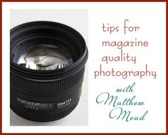 tips for magazine quality photography