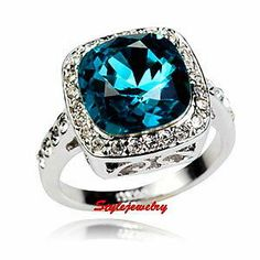 Size 7 18K White Gold GP Swarovski Crystal Aquamarine Blue Silver Ring 7 R154 | eBay