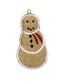 Burlap Snowman Ornaments - Set of 6 Want to spruce up your primitive country Christmas decorating? You will love our burlap snowman ornaments. They come as a set of 6 and are embroidered with white to
