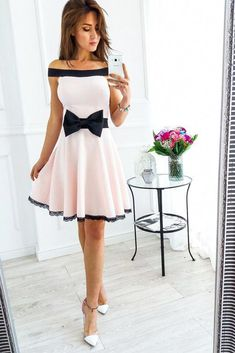 elegant off the shoulder homecoming dress, fashion A-line short party dress with bowknot, chic pink summer dress with black lace summercocktaildress Cocktail Bridesmaid Dresses, Cocktail Dresses With Sleeves, V Neck Cocktail Dress, Homecoming Dresses, Lace Party Dresses, Cute Dresses, Short Dresses, Summer Dresses, Looks Jeans