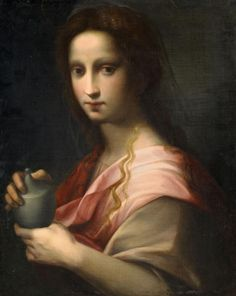 Domenico Puligo - Saint Mary Magdalene holding an ointment vessel, Auction 1010 Old Masters & Century, Lot Catholic Art, Catholic Saints, Religious Art, Noli Me Tangere, Santa Maria, Gospel Of Mary, Mary Of Bethany, Mark Rothko, Maria Magdalena