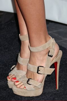 Nude strappy louboutins