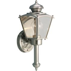Progress Lighting P5846-09 Wall Torch with Clear Beveled Glass Panels, Brushed Nickel by Progress Lighting. $64.17. From the Manufacturer                Traditional carriage lantern style with clear, beveled glass panels. BrassGUARD fixtures feature a proprietary lacquer finish proven to extend the life and finish of solid brass fixtures. Wall torch with clear beveled glass panels. Uses (1) 60-Watt medium base bulb 5-1/2-Inch Width by 15-Inch Height              ...