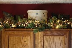 Above the kitchen cabinets for Christmas
