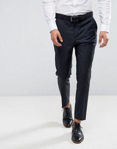 ASOS Wedding Tapered Smart Pants In Navy 100% Wool - Navy