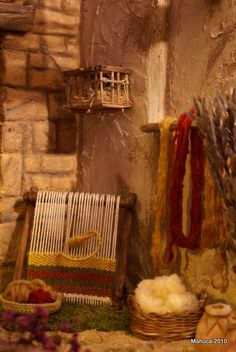 """cool """"birdcage"""" hanging in corner Christmas Nativity Scene, Christmas Scenes, Christmas Carol, Ward Christmas Party, Christmas Program, Journey To Bethlehem, Fontanini Nativity, Stage Decorations, Miniture Things"""