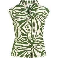 Fair Trade Batik Retro Shirt Rays Olive